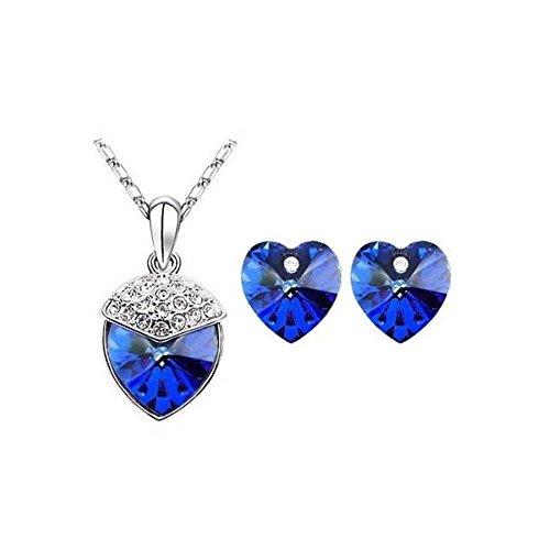 Parure coeur cristal swarovski elements plaqué or blanc Bleu roi