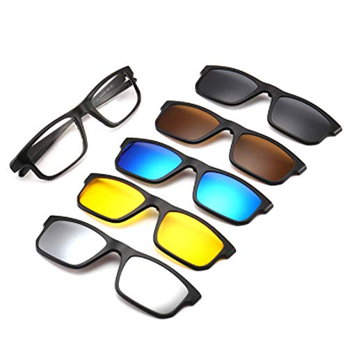 hlq Men es and Women ' s Lenses, Retro Sonnenbrillen, UV400 Polarized Lens, Pc Briasses Frame with 5 Clips (Send Glasses Bag),2256