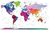 Stylish Living Carte Géante du Monde - Art Mural Mappemonde XXL Originale, Affiche Colorée par Un Designer International Poster Décoration de Géographie pour Chambre et Salon 140x100 cm...