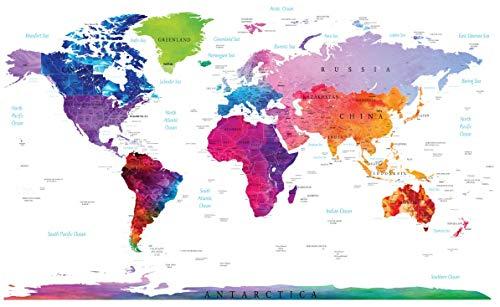 Stylish Living Elegante Mappamondo a Colori Planisfero Grande Perfetto per Decorazione Interni Splendida Mappa del Mondo da Parete per Camera da Letto e Soggiorno Cartina Geografica 140 x 100cm