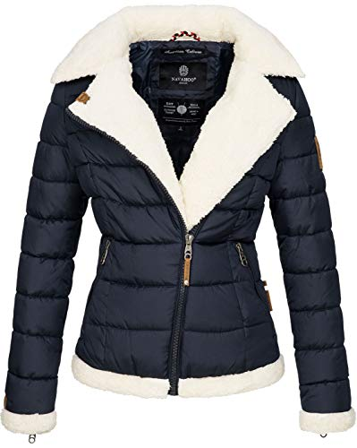 Navahoo Damen Designer Winter Jacke warme Winterjacke Steppjacke Teddyfell B652 [B652-Smooth-Navy-Gr.S]