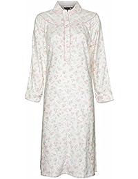 Chemise de nuit pour femme chaude à manches longues en 100% coton brossé Motif floral rose ou bleu