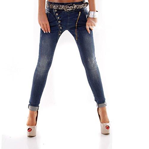 Designer Damen Jeans Secret Buttons Zipper Jeans Knöpfe Skinny Baggy Push Up Denim Washed