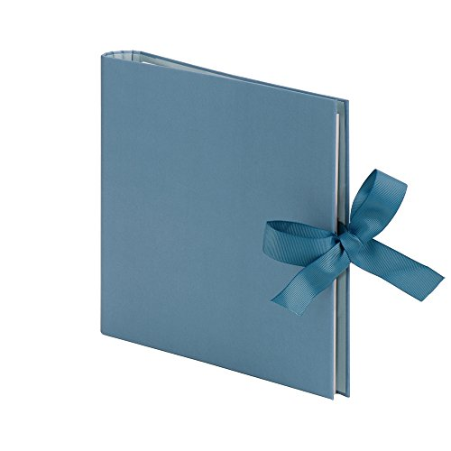 Rössler Papier Fotoringbuch (50 nachfüllbare weiße Seiten, 25 Blatt, 23 x 21 cm) blau mit Schleife