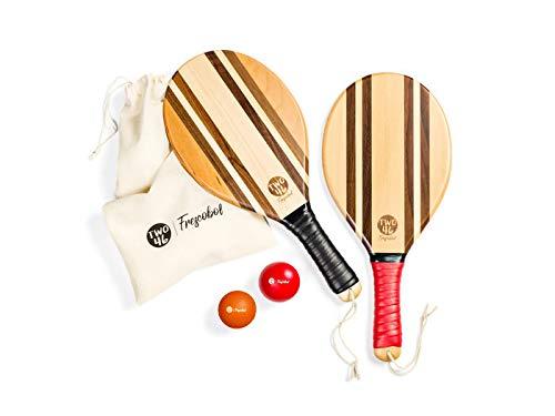 two46 speedracket | Premium Frescobol Set - hochwertige Beachball-Schläger aus Holz für Matkot & Beachtennis | +Gratis Baumwolltasche -