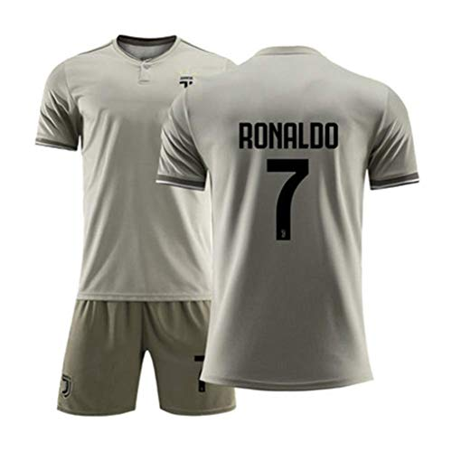 LLMM Trikot Fußball Trikot Juventus F.C Trikot Ronaldo 7# Trikot Erwachsene Kinder Anzug Kurzarm + Shorts Fußball Uniform,Gray,26~(Child/150~155cm) -