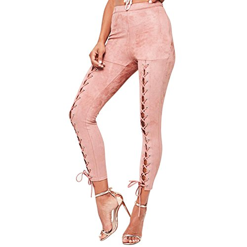 LAEMILIA Damen Leggings Lace up Ripped Hose Bandage Hohe Taille Stretch  Skinny Hosen Eng Schlank Bleistifthose d1c5732250