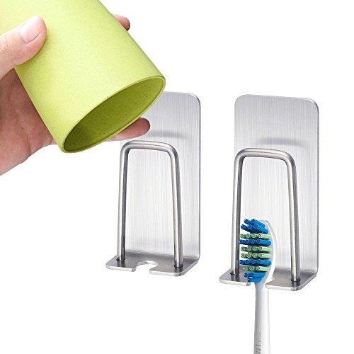 Beito 2Teile Zahn Pinsel Ständer, 3m Viskose Zahnbürstenhalter Wand aufhängen Edelstahl Haken Elektrische Zahnbürste Cup Halter, kann Aufhängen eine - Holder Zahn Cup