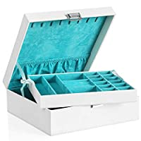 SONGMICS Jewellery Box 2-layer Jewellery Storage Removable Tray for Earring Ring Bracelet