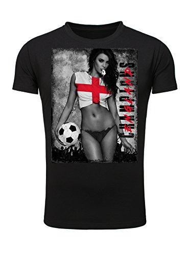 Legendary Items Herren T-Shirt EM 2016 Sexy Girl Frau Fußball Europameisterschaft Vintage England schwarz M (Sexy Team Football)