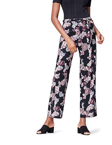 FIND Floral Wide Leg Pantalones para Mujer, Negro (Black Mix), 40 (Talla del Fabricante: Medium)