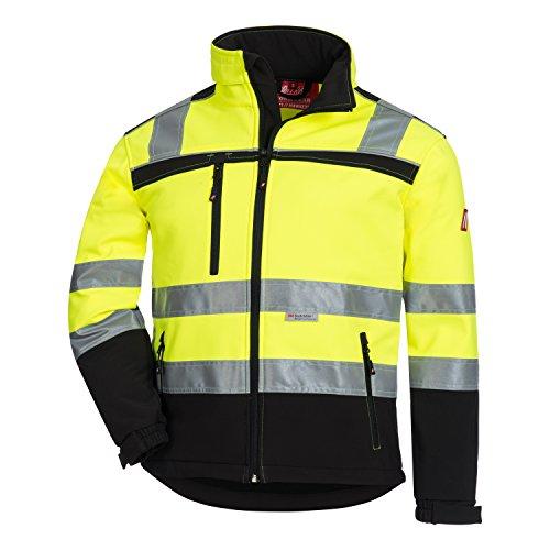 Nitras MOTION TEX VIZ Warnschutz Softshell-Jacke | Arbeitsjacke mit 3M Reflex-Streifen | Windbreaker Wasserabweisend & Windabweisend | S - 3XL (5XL, Neongelb)