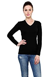 Renka Black Color Knitted Pullover Sweater for Women, X-Small