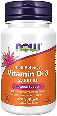 NOW Vitamin D-3 2000iu, 120 Softgels
