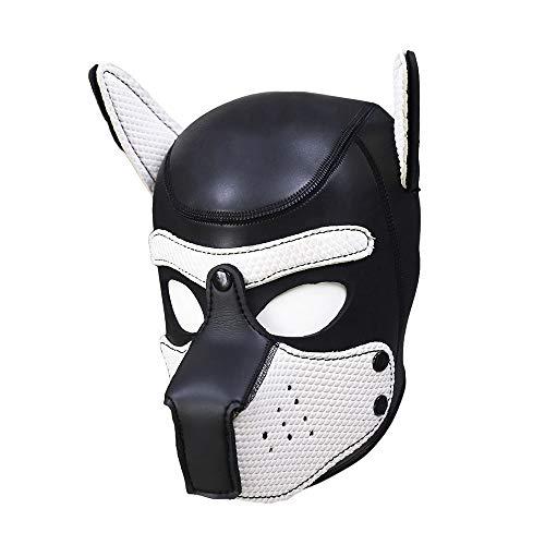 SM Schwamm Hund Kopf Leder Maske Paar Charakter Flirt Hut Maskerade Partei Prop Maske, Puppy Head Mask Kopfbedeckungen Rolle Spielen Tier Cosplay Neuheit (Mensch Tier Kostüm)