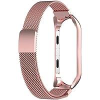 Malloom Milanese Loop Correa de Acero Inoxidable Reemplazo Wristband Pulseras de Repuesto Bandas Fitness con Cerradura Imán Único Xiaomi Mi Band 3 (Oro Rosa)
