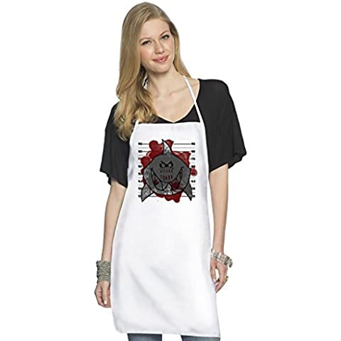 Killer Shark Mugshot Grembiule da Cuoco Top Quality Chef's Apron| Custom Printed| Available In 2 Sizes For Women & Men| 100% Durable Polyester| Premium Kitchen Supplies For Bars/Bistros & Home By Hamerson
