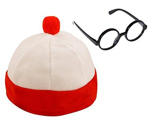 Hut Waldo Kostüm - Mega_Jumble® Mütze und Brille für Erwachsene/Kinder, Weiß/Rot gestreift