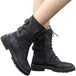 JiaMeng Botas Planos Alto Top de Medieval Style para Mujer,Zapatos de Media caña de Montar a Caballo Romano Botas de Media caña de Montar a Media Pierna con Cremallera(Negro,EU39)
