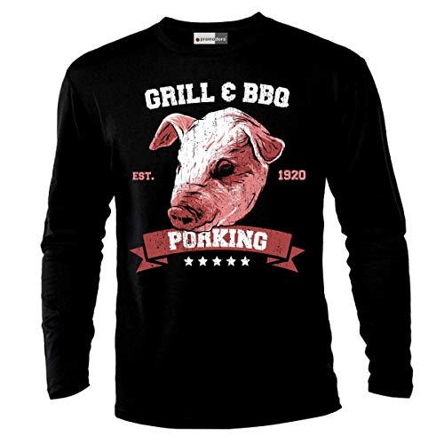 9badbd5547395 Pig Grill and BBQ Wild Nature Animals Langarm Shirt T-Shirt (3XL)