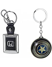 Three Shades Avengers Keychain Captain America Shield Keychain & Honda Car Set Of 2 Key Chain