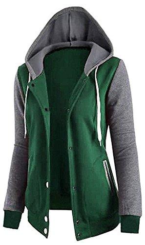 EmilyLe Damen langarm mehrfarbig Blazer Jogging College Jacke Kapuze Knöpfe BaseballSweatshirt Grün