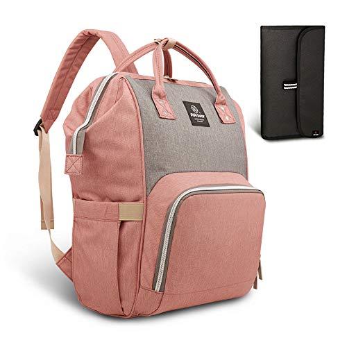 HEYI Mutifunktionale Wickeltasche Rucksack, Wasserdichte Wickelrucksack Tasche, Große Reisetasche für Mutter und Baby (Rosa mit Grau)