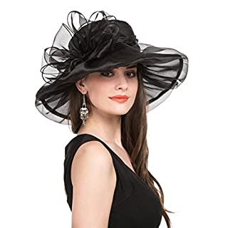 Saferin Women Oganza Summer Sun Hat Beach Church Hat Ascot Race Derby Hat Cocktail Wedding Black Bowknot