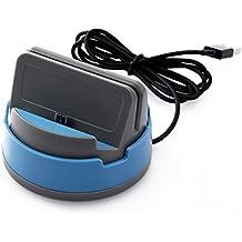 """""""Cargador de la estación del muelle de múltiples funciones giratorio de 360 grados que carga el sostenedor giratorio híbrido de escritorio del sostenedor del cargador de la horquilla de la tarjeta de la sinc. Para LG Elite G2 G3 / HTC / Lenovo / Samsung Note3 4 5 S4 S5 S6 edge S7 edge / Xiaomi / Huawei Y6 6 II P9 9 Pro10 Plus (Azul) """""""