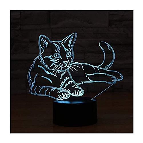 3d Led Illusion Lampe Nachtlicht/Wangzj Optische Nachttisch Nachtlichter/Illuminating Kinder Lampe / 7 Farbwechsel Touch Button Dekoration Schreibtischlampen /Cat