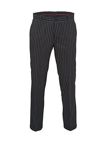 Relco Mens Stay Press Classic Pinstripe Trousers Sta Press Retro Mod Skin Ska, 32 Inch