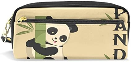 Coosun Noir Panda Portable Cuir PU Trousse d'école Pen Sacs papeterie Pouch Case Grande contenance Sac de maquillage B07FZXJ7RL   Elaborer