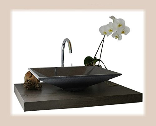 Waschbecken aus Naturstein, Granit, Model Havanna, anthrazit, G654, 60x40cm