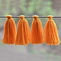 Embroiderymaterial Bordado de algodón con borlas para Hacer aretes y decoración, Color Naranja (50