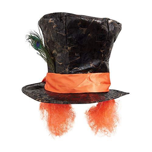 shoperama Verrückter Hutmacher Zylinder mit Haaren und Pfauenfeder Mad Hatter Kostüm Hut - Mad Hut Kostüm