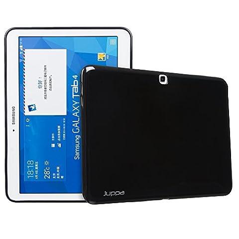Juppa® Samsung Galaxy Tab 4 10.1 SM-T530 SM-T531 Gel Silicone TPU Coque avec Film de Protection Écran (Noir / Black)