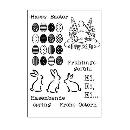 Fröhliche Ostern Hase Silikon Klar Stempel Blatt, Scrapbooking Album Silikon Stempel, Clear Stamps DIY Handwerk Scrapbooking Dekorieren -