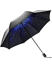 Black Umbrella Lluvia soleada Classic Base Night Cielo estrellado Beautiful Nebula Doble capa Protección UV Paraguas plegable portátil