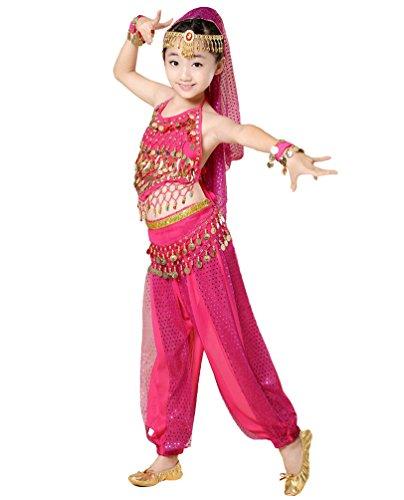 Anguang Kinder Mädchen Bauchtanz Kostüm Indische Tanz Bauchtanzanzüge Rose#3 S (Hübscher Tanz Kostüme Für Mädchen)