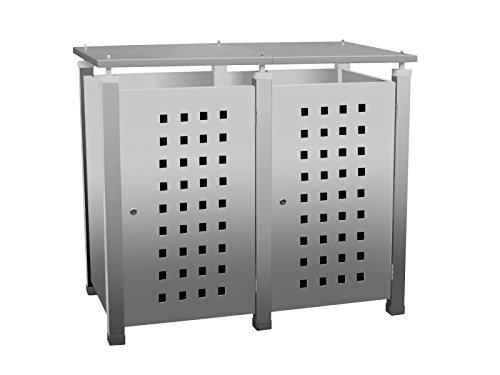 Mülltonnenbox Modell Pacco E Quad5 für zwei 120 ltr. Tonnen in Edelstahloptik