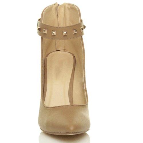 Femmes talon haut clouté sangle de cheville pointe chausson escarpins Beige