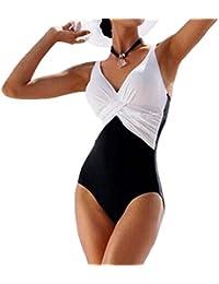GWELL Femme Maillot de Bain Une Pièce Bikini Grande Taille Amincissant Contraste Vintage Vogue Beach Sexy Push Up