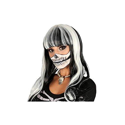 Guirca Halloween Hexen Perücke Schwarze Mähne mit weißen Strähnchen