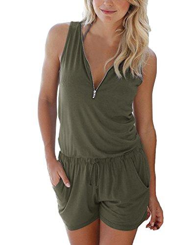 Auxo donna jumpsuit corte con zip pagliaccetto senza tuta pantaloncini sexy casual monopezzi elegante estivo 01-verde eu 38/asian m