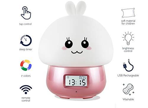 LED Nachtlicht Kinder,Owoda Lichtwecker Wake Up Licht,LED-Digitalanzeige Wecker Nachttischlampe mit Fernbedienung,7 Farben Nachtlichter, 11 Schöne Klänge,Sicheres ABS& Silikon, Bestes Geschenk