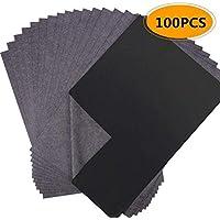 Magiin 100pcs Papel Carbón A4 Papel Transfer Papel de Transferencia de Carbono 21 x 29,7cm Gris y Negro