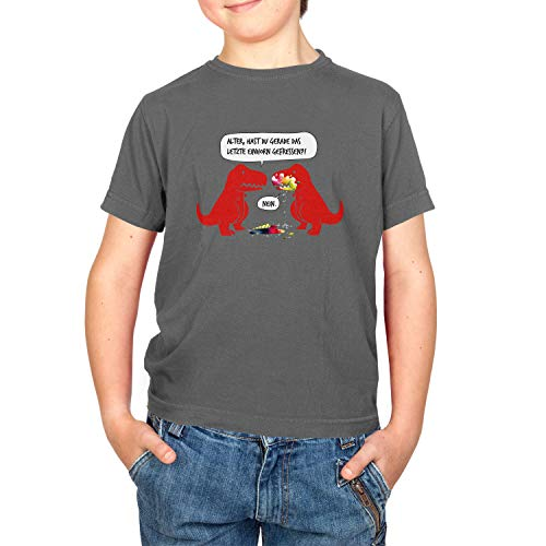 (Texlab Dino Einhorn - Kinder T-Shirt, Größe XS, grau)