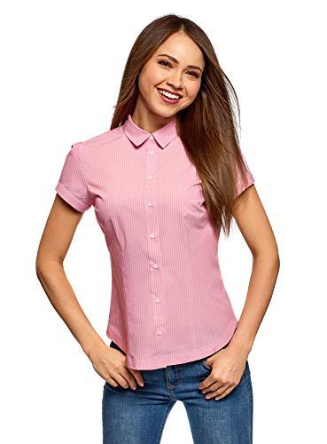 oodji Ultra Damen Kurzarm-Hemd aus Baumwolle, Rosa, DE 42 / EU 44 / XL