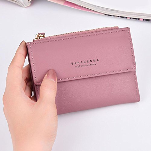 Portafoglio Donna, Tpulling Portafoglio in pelle della frizione delle donne della borsa della signora Short della borsa (Hot Pink) Hot Pink