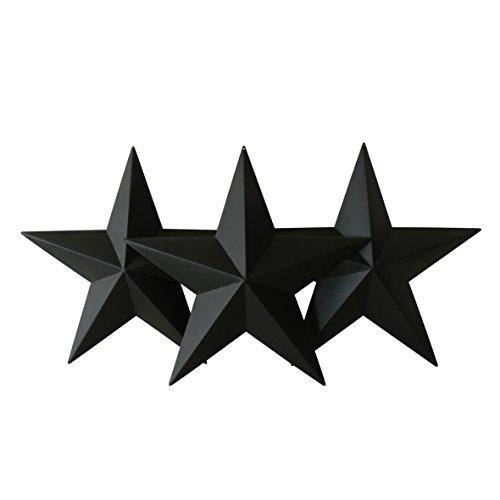 Land-schwarzes Finish (CVHOMEDECO. Land rustikale antike Vintage Geschenke schwarz Metall Barn Star Wand / Tür Dekor, 30.5 cm, 3er Set.)